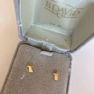 14k karat gold vintage antique earrings - arrows